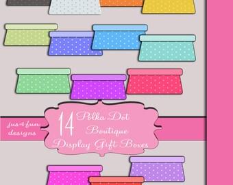 Polka Dot Shop Boutique Boxes Store Boxes Scrapbook Digital Embellishments Elements Clip Art Graphics Set