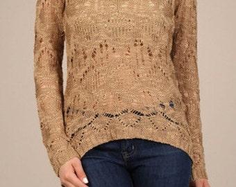 Crochet Scoop Neck Sweater