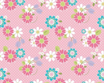 Last 1/2 yard DREAM AND a WISH by Sandra Workman for Riley Blake Floral Pink
