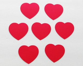 "25 Red heart die cuts/ Valentine's day decor/ size from  1"" to 8"" high / great for tags, scrapbooking, baby shower, party decor"