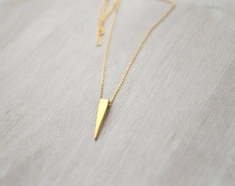 minimalist necklace long gold necklace triangle necklace geometric necklace gold dipped pendant trending jewelry, simple necklace