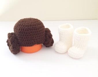 Crochet Star Wars Princess leia hat and shoe / star wars / princess leia hat / princess leia / baby hat / photo prop
