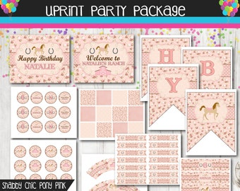 Pink - Shabby Chic Pony Party Package - Cowgirl Party -Country- Shabby - Party Kit - Personalized - Printable