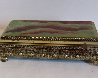 Vintage Tin Boxes Decorative Metal Tins Green Faux Agate Stone Look  Vintage Storage Box Tin Containers