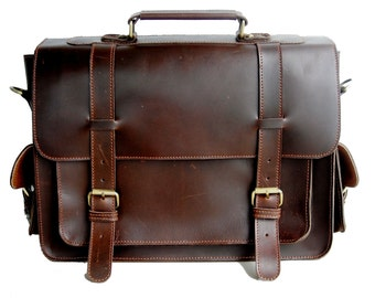 Classic Buffalo Leather Briefcase / Attache / Satchel / Laptop Case + Free Leather Wallet