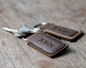 Personalized Custom Leather Keychain•Hand Stamped•Hand Stitched Personalized Keychain