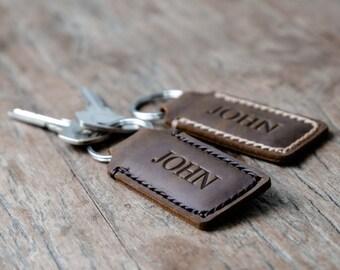 Personalized Custom Leather Keychain•Hand Stamped•Hand Stitched Personalized Keychain