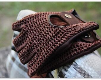 HOT CHOCOLATE brown fingerless driving gloves/mittens/Driving gloves/Fingerless leather crochet gloves for Women or Men/Gift gor her/him