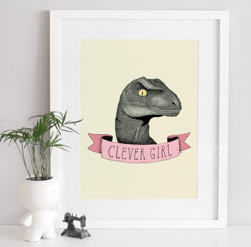 Clever Girl Raptor: SALE Jurassic Park Art Print Dinosaur Illustration Raptor