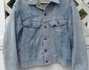 Lee Jean Jacket - Lee Rider Jean Jacket sz. Men's Small- Distressed Jean Jacket - Vintage Denim Jacket - Collectable Men's Jean Jacket- Gift