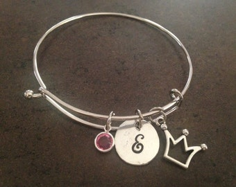 Princess Bracelet, Crown Tiara Charm, Initial Charm Bangle, Charm Bangle, Personalized Bracelet, Monogram, Hand Stamped, Alex and Ani, Gift