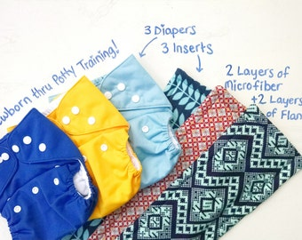3 Pack of Cloth Diapers with 3 Handmade Inserts, One Size Pocket Diapers