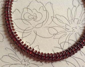 Vintage Natural Red Garnet Tennis Necklace - 925 Sterling Silver Garnet Necklace - January Birthstone Red Gemstones Necklace