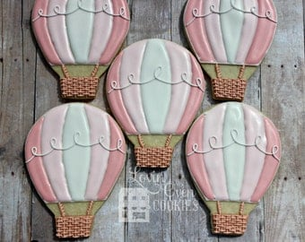 Hot Air Balloon Decorated Sugar Cookie - 1 Dozen - Shower Favor / Party Favor