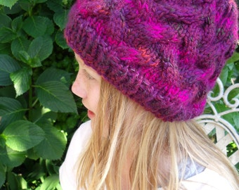Purple variegated cable Hat