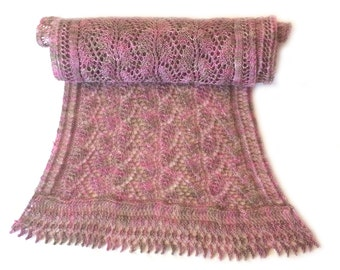 Honley Lace Knitted Scarf in Dappled Pink