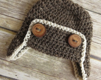 Crocheted Baby Aviator Earflap Hat with Wooden Buttons ~ Crocheted Barley & Cream ~ Real Tree Branch Buttons ~ Newborn to 5T - MADE TO ORDER