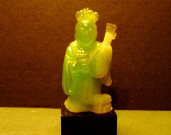 Final Clearance -Vintage Faux Jade Geisha with instrument figurine