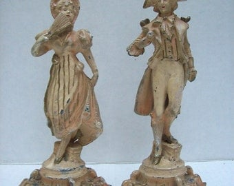 Antique Pair of Painted METAL STATUES Male and Female Elegant FRENC Aristocracy Figures