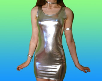Cyber Holographic Dress // PRE ORDER Silver Cute Kawaii Goth Silver Shiny Party