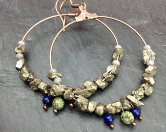 Large hoop earrings pyrite