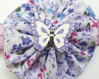Floral butterfly headband, yo-yo flower headband