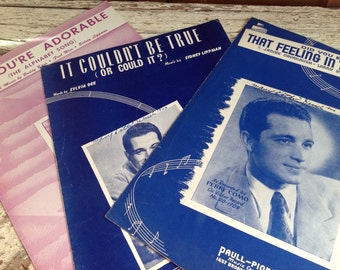 Vintage Perry Como Sheet Music, A You're Adorable, That Feeling In the Moonlight, It Couldn't Be True, 1940s Sheet Music, Paper Ephemera