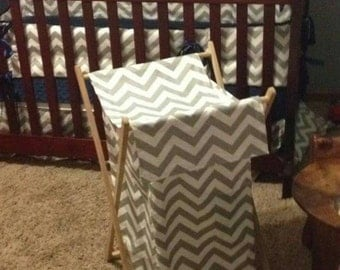 Custom made wooden frame hamper cover to match any crib set design