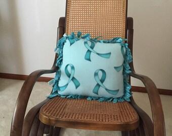 Teal ribbon pillow. Cancer awareness pillow