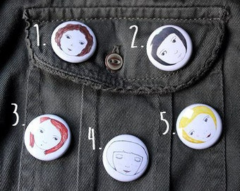 Small Face Pin Badges. 5 designs to choose from. Hand drawn unique designs. Pin Badge/Button. 25mm size. SECOND EDITION!