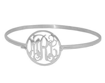 Personalized Silver Monogram Bracelet, sterling silver custom Initial Bangle Bracelet, Initial Monogram Bracelet
