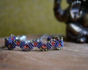 Handcrafted beaded macrame bracelet in purple