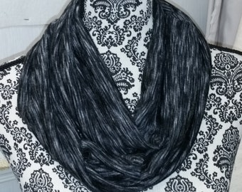 Black and Gray Stripe Infinity Scarf