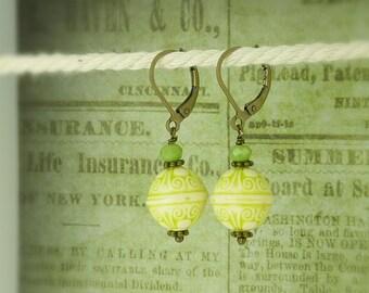 bronze earrings ornament green biscuite