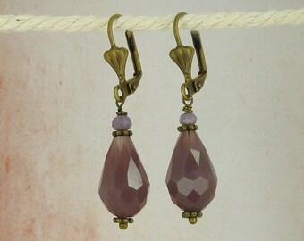 Earrings crystal drops purple