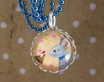 "kids necklace "" Rabbit - Friendship "" blue / gift for girls / gift for kids / kids jewelry / girls jewelry / give away for girls"