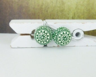 small stud earrings • forest green • mosaic ornaments