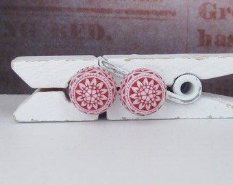 small stud earrings • red • mosaic ornaments