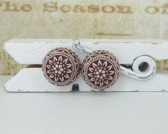small stud earrings • antique brown • mosaic ornaments
