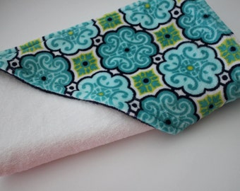 Premier Prints Dolce Vita Minky Cuddle Florence in Teal, Navy, Green, White - Infant Hooded Towel - Bath, Nursery