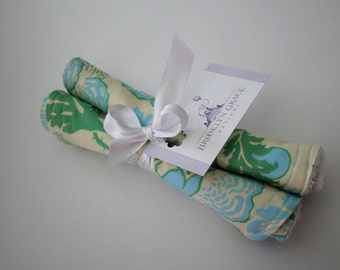 Floral Burp Cloths in Baby Blue, Minkt and Ivory - Burp Pads, Cotton and Soft Chenille - Baby, Shower Gift, Feeding, Nursing