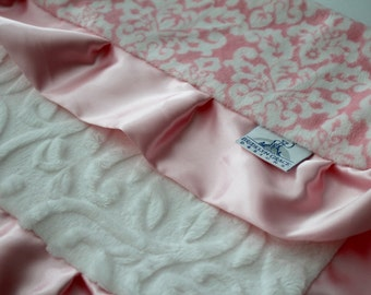 Pink Damask Minky with White Embossed Vine Lovie Blanket and Finished with Baby Pink Satin Trim - Baby Girl, Crib Bedding, Infant, Toddler