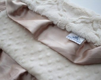Ivory Embossed Lattice Lovie Blanket with Champagne Gold Satin Trim - Baby Girl, Crib Bedding, Infant and Toddler