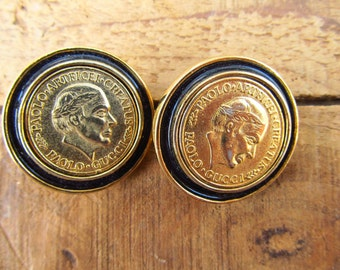 Vintage Clip-on Paolo Coin Earrings - Paolo Gucci Coin Earrings