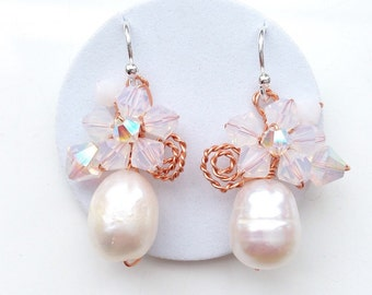 Pearl Earrings, white pearl Earrings, Pearl Drop Earrings, wedding jewelry, Bridal earrings