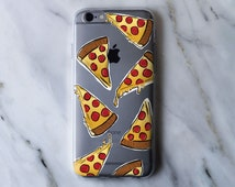 Abstract Cartoon Pizza Drawing Clear iPhone Case - iPhone 5 5S 6 6S 6 Plus Case