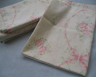 Vintage Flat Sheet & Pillowcases for Double/ Full Bed, Shabby Chic Pink Green Mix Match Cottage Floral Bedding, Bedroom Decor, Peonies
