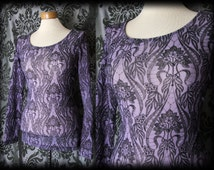 Gothic Purple Black Damask Fitted ALICE'S ADORATION Top 10 12 Victorian Vintage