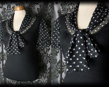 Gothic Black Polka Dot VICTORIAN GOVERNESS Pussy Bow Blouse 16 18 Vintage Pin Up