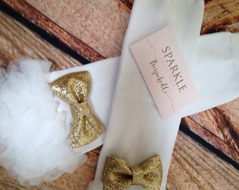 Gold and White Birthday Legwarmers/Gold and White Leg Warmers/Gold Legwarmers/White Ruffle legwarmers